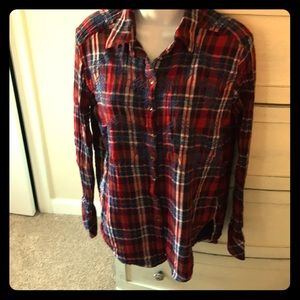 Free People embroidered plaid shirt Sz XS